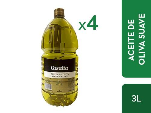 ¡50% OFF! 4 un. Bidón de Aceite de Oliva Suave Casalta 3L