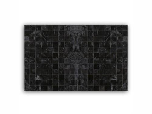 Alfombra Patchwork de Cuero Vacuno Negra  - 1,20 x 1,70