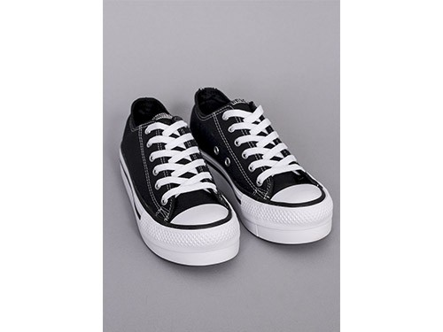 Zapatillas Lona Plataforma Negra
