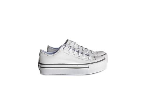 Zapatillas Cuero Plataforma blancas