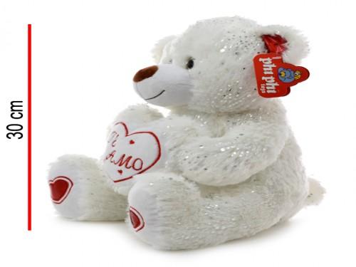 Peluche Oso con corazón y brillo 30cm