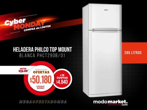 HELADERA PHILCO TOP MOUNT BLANCA PHCT290B/01