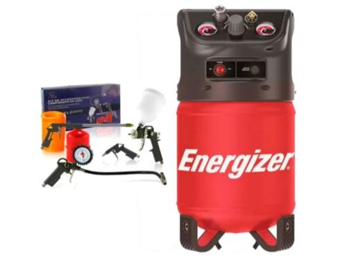 Compresor De Aire Energizer 12 Litros Sin Aceite + kit Pintar 5 Piezas