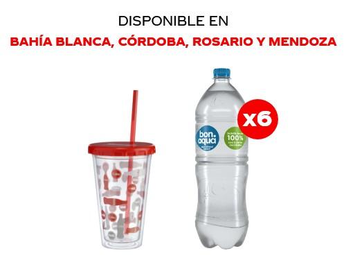 6 Bonaqua Sin Gas 1.5 lts + Vaso plástico