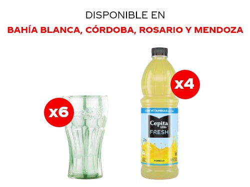 4 Cepita Fresh Pomelo 1.5 lts + 6 Vasos Coca-Cola
