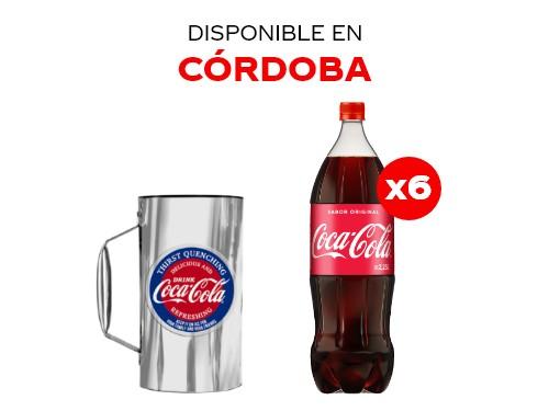 6 Coca-Cola 2.25 lts + Vaso metálico 750 cc