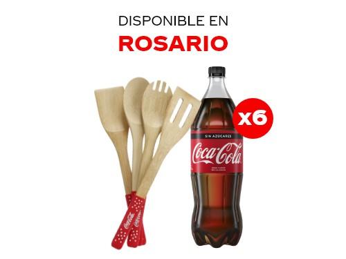 6 Coca-Cola Sin Azúcar 1.5 lts + Utensillos