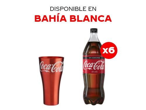 6 Coca-Cola Sin Azúcar 1.5 lts + Vaso de aluminio