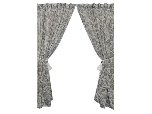 cortinas living jacquard matisse 2 paños + borlas para barral dina