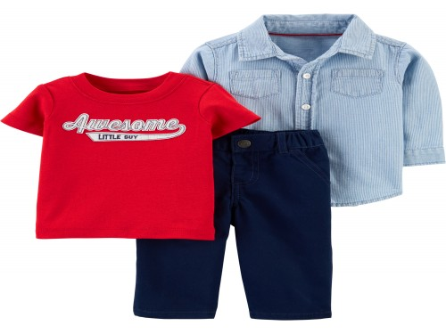 Set 3 piezas Remera, Camisa y Pantalón Awesome - Sets Carter´s