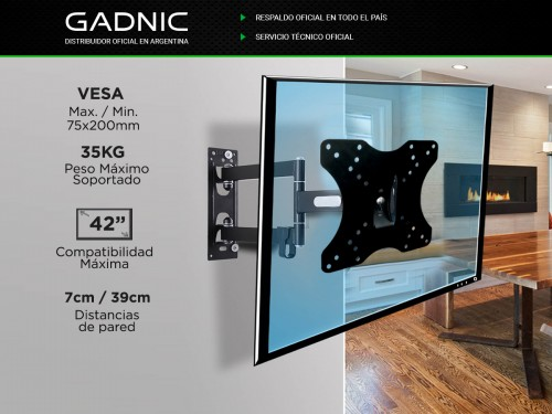"Soporte TV Led Gadnic 14"" Hasta 42"" Resistente Movible Articulado"