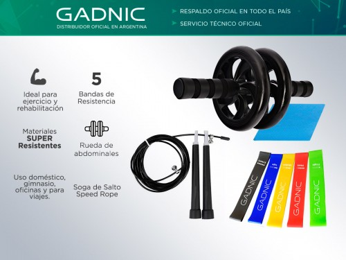 Kit Fitnes Gadnic Rueda + Bandas de Resistencia + Soga
