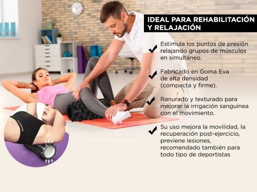Kit Rolo Yoga Fitnes + Bandas Resistencia + Palo Masajeador