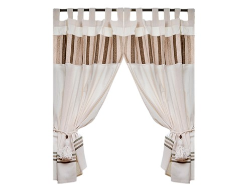 cortinas cortas cocina juego madrás + faldón jacquard + borlas dina