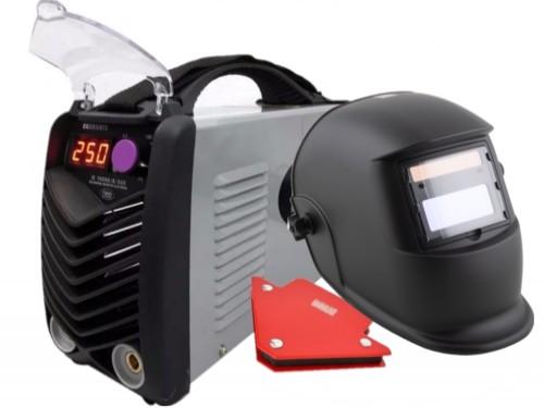 Soldadora Inverter 250 Amp Profesional + máscara fotosensible escuadra