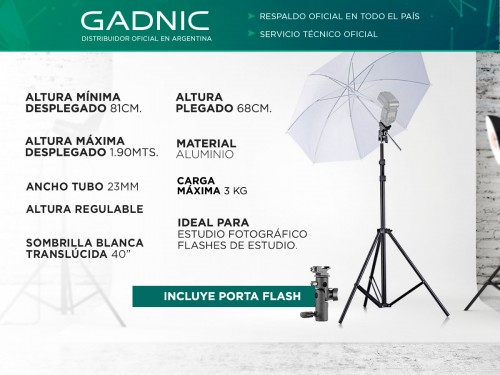 "Kit Tripode Gadnic Estudio 1.90mts + Sombrilla 40"""