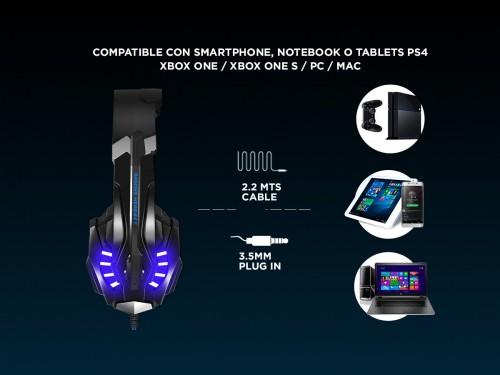Auricular Gamer Gadnic A700 Play PS4 Xbox Gaming PC Celular