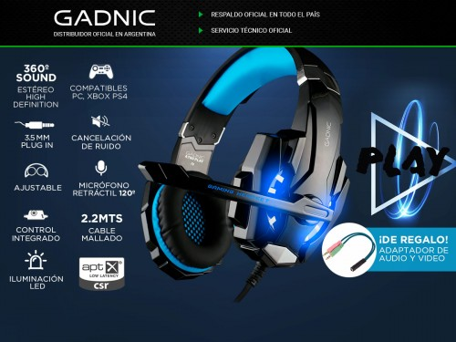 Auricular Gamer Gadnic A700 Play PS4 Xbox Gaming PC Celular