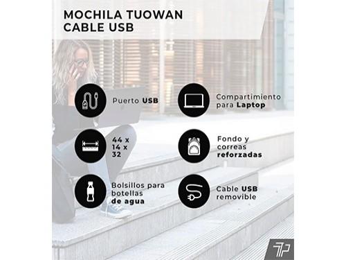 Mochila Hombre Mujer Urbana Smart Usb Notebook Celular Cuero