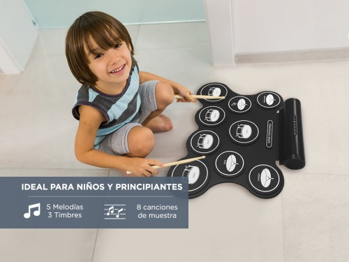 Batería Electrónica Silicona Flexible 9 Pads