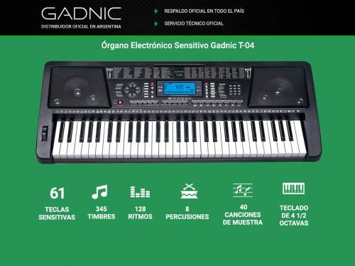 Organo Teclado Electronico Gadnic T04 61 Teclas Display LCD Midi