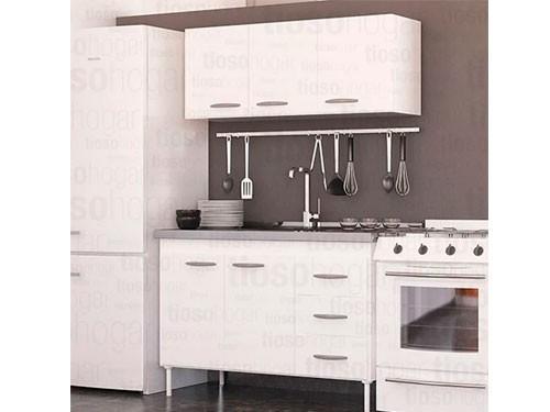 Combo Cocina Bajo Mesada Bacha Acero Alacena 140 Diseño