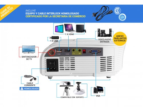 Mini Proyector Gadnic Optimus 1200 Lúmenes Portátil HDMI VGA Sinto Tv