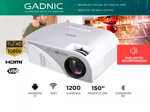 Mini Proyector Gadnic Optimus WiFi 1200 Lúmenes Portátil HDMI VGA