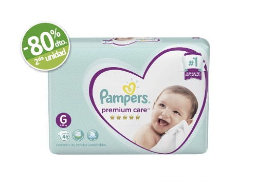 Pampers Pañales Premium Hiper x 46 Un Talle G