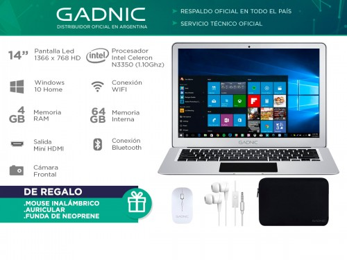 "Notebook Gadnic 14,1"" 4GB 64GB SSD Windows 10"