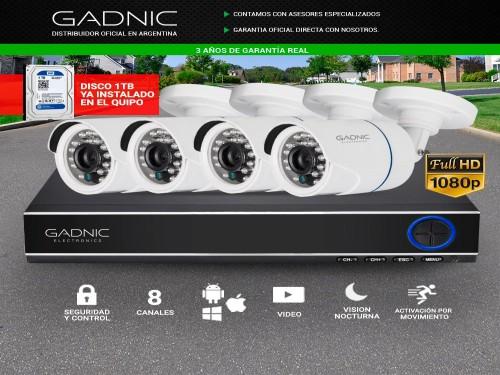 Cámaras de Seguridad x4 + DVR 8CH Gadnic SX14 1Tb