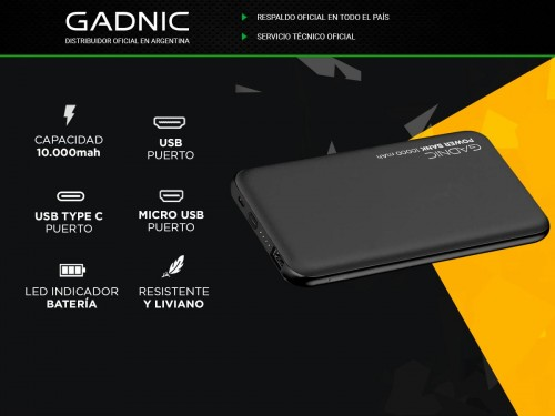 Mini Power Bank Gadnic 10000mah Celular Portable Carga Rapida