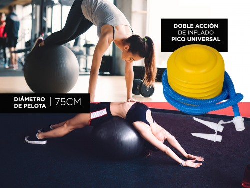 Kit Pelota de Yoga Gadnic 75cm + Inflador + Bandas de Resistencia