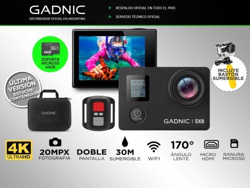 Cámara Deportiva GADNIC 4K 20Mpx Doble pantalla Frontal y Trasera