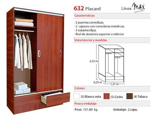 Placard Max 2 puertas corredizas , 2 cajones y 3 estantes fijos