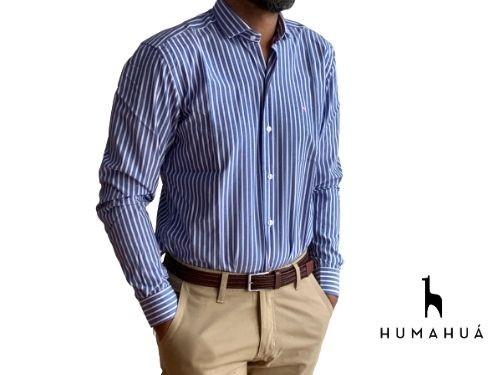 Camisa Hombre Slim Fit Rayada Azul y Blanca Humahua Horacio
