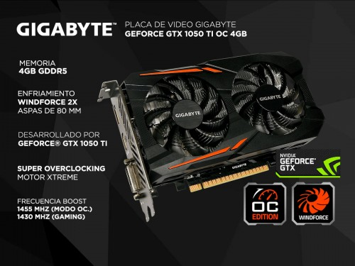 Placa de Video Gigabyte Geforce GTX 1050 TI OC 4gb