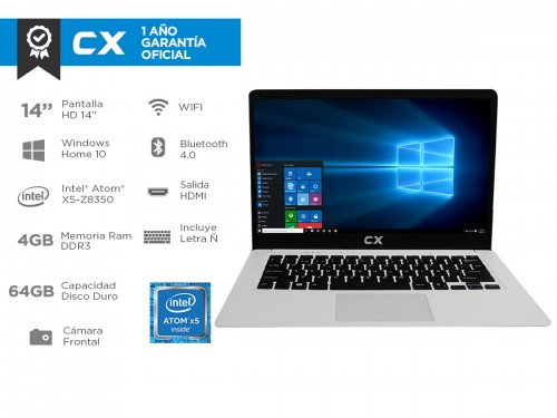 """Notebook CX 23500W Intel Dual Core 4gb 64gb 14"""" Full HD Windows 10"""