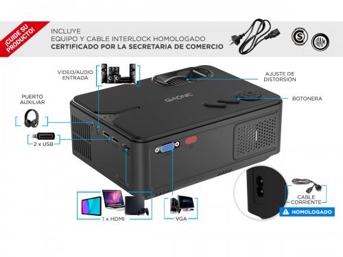 Proyector Gadnic Ultra Led 2000 Lúmenes Wifi HDMI USB VGA