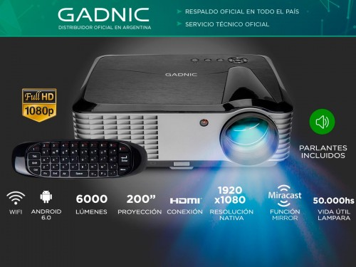Proyector Gadnic Ultra View WiFi 6000 Lúmenes Android HDMI USB VGA