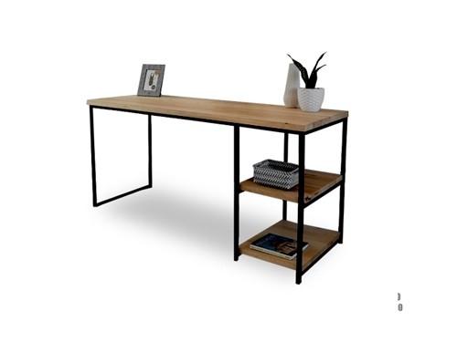 Escritorio con 2 estantes Minimal de madera y estructura de hierro