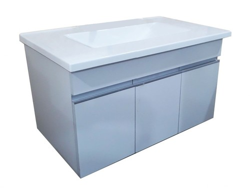 Vanitory Baño Mueble Colgante 80 Cm Blanco Bacha Marmolina