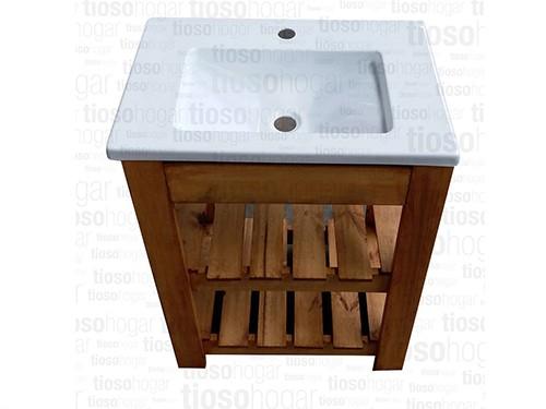 Vanitory De Pino Con Bacha 60cm X 48cm X 80cm Doble Deck
