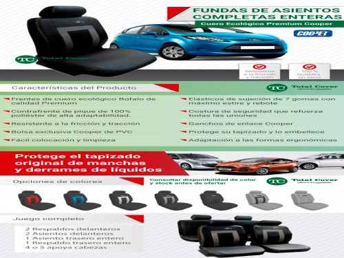 FUNDAS ASIENTOS AUTO CUERO ECO. DELANTERAS + TRASERAS+APOYACABEZAS