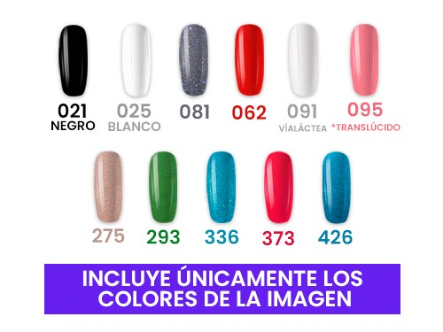 12 Esmaltes Semipermanentes UV/LED 15ml(11 Colores+Top CRMY) Cherimoya