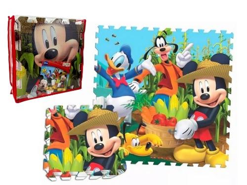 Piso De Goma 1m2 Rompecabeza Mickey Mouse 9mm De Espesor