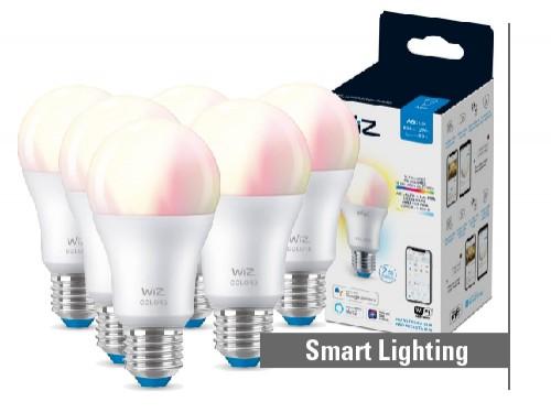 Pack 6 lámparas LED Smart WiFi 9W A60 E27 blanco y colores dimerizable