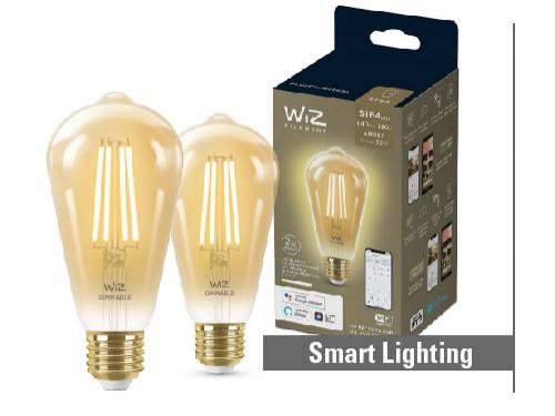 Pack 2 lámparas LED Vintage Smart WiFi 6,9W ST64 E27 ambar dimerizable