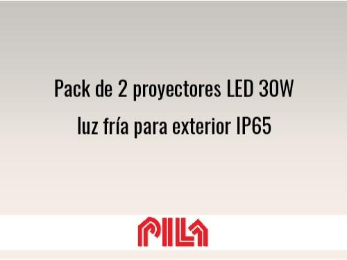 Pack de 2 proyectores LED 30W luz fría para exterior IP65