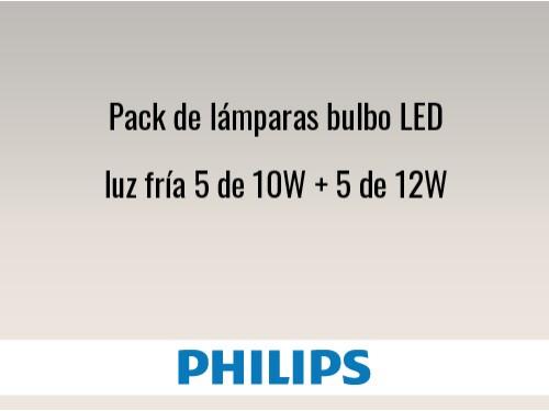 Pack de lámparas bulbo LED luz fría 5 de 10W + 5 de 12W
